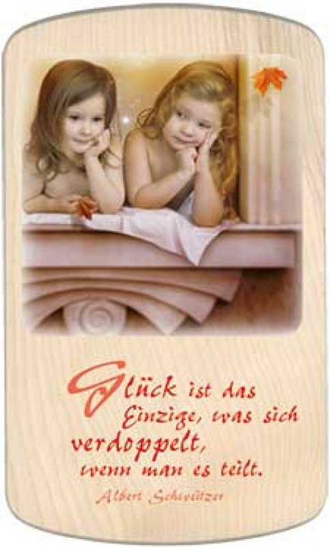 Holzbildtafel - Glück - 15x24 cm - zum Aufhängen